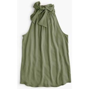 Olive Green Drapey Halter Top Tie Neck
